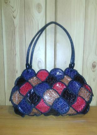 Эффектная, яркая сумка, маленькая сумочка, разноцветная, новая, под рептилию