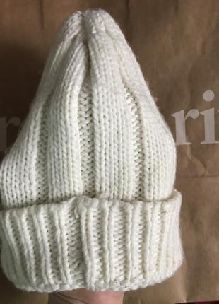Шапка вязаная, зимняя белая