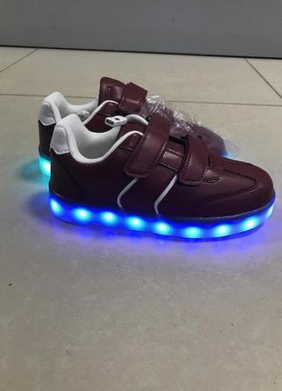 Детские кеды кроссовки с лед подсветкой светящиеся