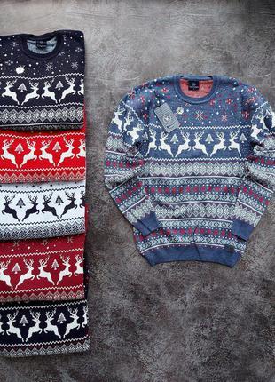 Новогодний зимний свитр кофта с оленями на фотосессию шерстяной
