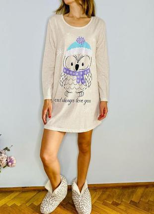 Мила нічна сорочка принт пінгвін новорічний