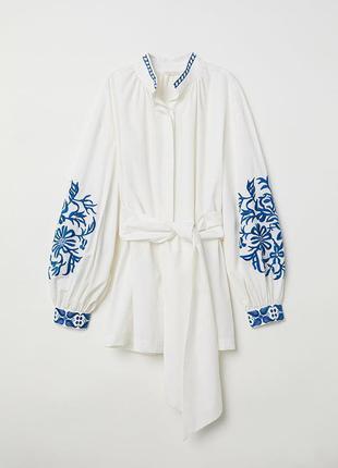Шикарная блуза, рубашка, туника с богатой вышивкой h&m+пояс! хлопок!