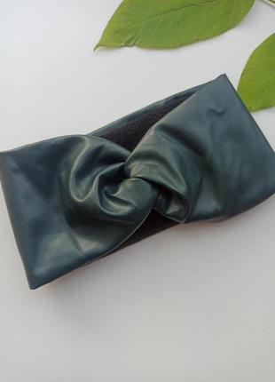 Утеплена повязка з екошкіри на голову повязка на флісі тепла