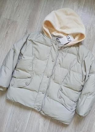 Курточка теплая с трикотажным капюшоном zara