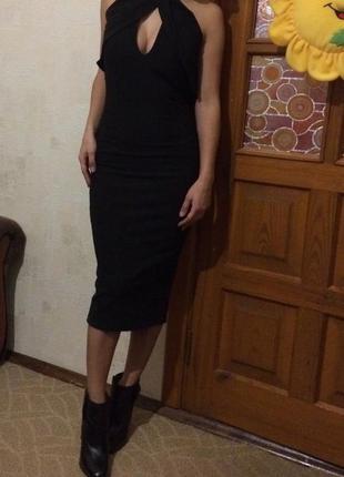 Шикарное чёрное платье миди
