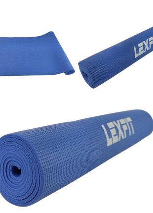 Коврик для йоги и фитнеса lexfit lkem-3010-0,6 (синий, 173х61х0.6 см, пвх)
