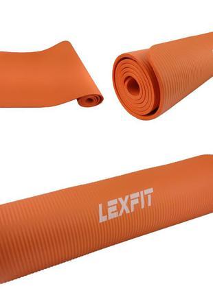 Коврик для йоги и фитнеса lexfit lkem-3006-0,8-orang (оранжевый, 183х61х0.8 см, каучук)