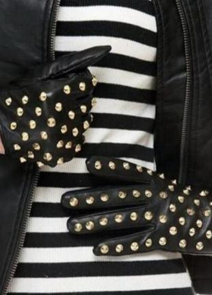 Очень стильные кожаные перчатки,рукавички кожа h&m