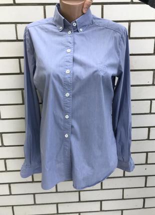 Рубашка голубого цвета под джинс,хлопок + полиэстер, massimo dutti