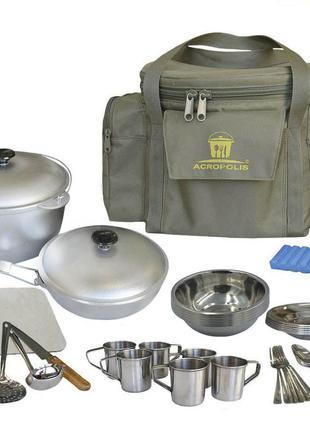 Набор для пикника (казан, сковорода, посуда на 6 персон и сумка с термоотделом)