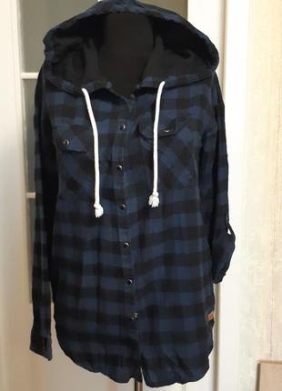 Рубашка байковая с капюшоном темно синяя с,черным