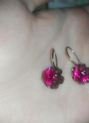 Серёжки серьги с камнями серебро с позолотой 925 проба с рубинами нереально красивые