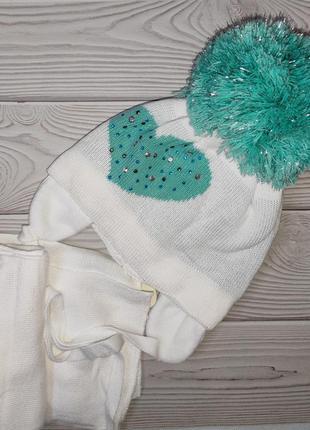 Шапка шарф зимний набор для девочек agbo польша