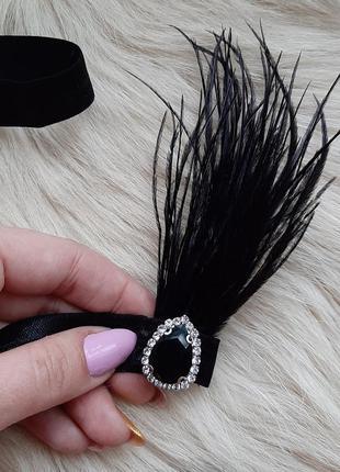 Повязка в стилі гетсбі вечірки/повязка на голову з пірям/повяска з перьями