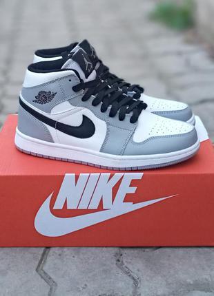 Подростковые кроссовки nike air jordan кожаные, серые