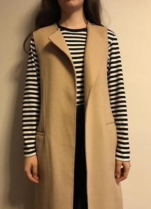 Шерстяное пальто-жилет3