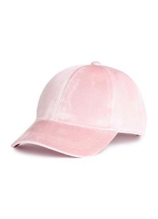 Новая велюровая бейсболка, кепка, пудрового цвета, h&m
