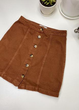Шикарная юбка джинсовая на пуговицах new look/zara