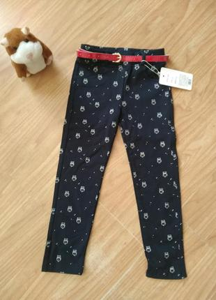 Новые брюки, штаны с совушками на 4-5 лет