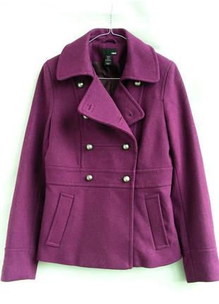 Ягодное шерстяное пальто, 60% шерсти