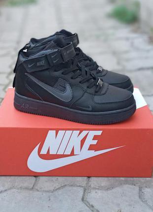 Подростковые зимние кроссовки nike air force winter кожаные, зимние, черные