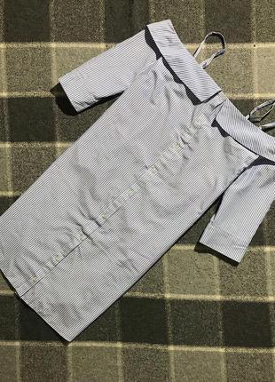 Женское полосатое платье (сарафан) atmosphere ( атмосфера м-лрр идеал оригинал бело-голубое)