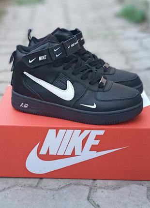 Подростковые зимние кроссовки nike air force кожаные, черные, хайтопы