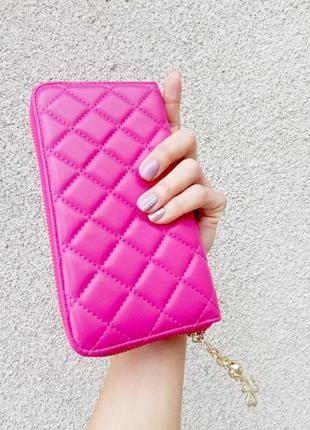 Розовый стеганый кошелек