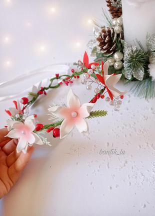 Веночек на голову веночек на зимнюю фотосесию веночек на фотосессию новогодние повязки