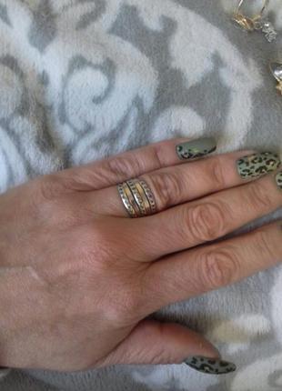 Кольцо неделька серебро с пластинами золота