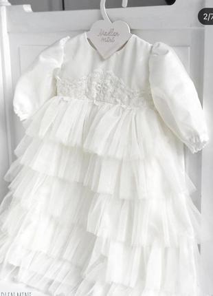 Плаття та шапочка для дівчинки на хрещення
