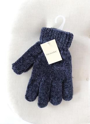 Синие перчатки 💙primark синель велюр