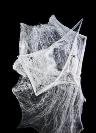 Декор на хэллоуин паутина большая белая с черными пауками +подарок