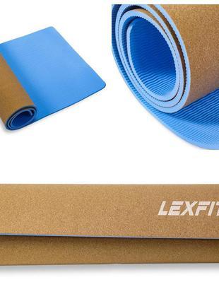 Коврик для йоги и фитнеса lexfit lkem-3086a-0,8(голубой+пробка, 183х61х0.8 см, термоэластопласт)