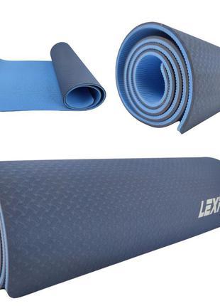 Коврик для фитнеса lexfit lkem-3039a-0,8 (синий, 182х61х0.8 см, термоэластопласт)