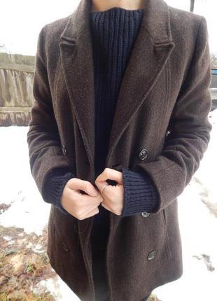 Коричневое классическое пальто pimkie