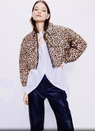 Куртка , бомбер в принт леопардовый
