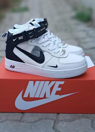 Подростковые зимние кроссовки nike air force кожаные, белые
