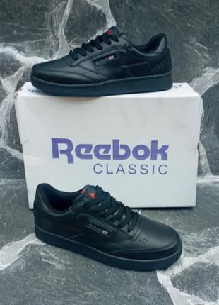 Подростковые кроссовки reebok face stockholm черные.кожаные