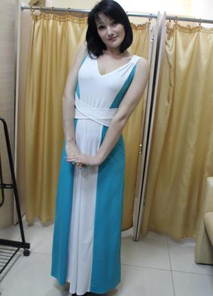 Двухцветное длинное в пол коктейльное платье, греческий стиль размер 42-46