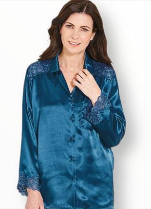 Роскошная пижамная блузка с французским кружевом +брюки