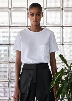 Белая хлопковая базовая футболка zara
