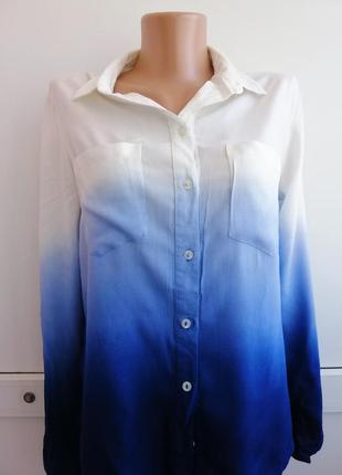 Блуза белая синяя