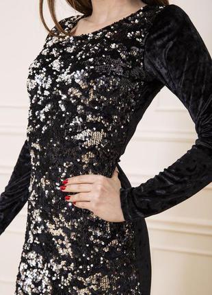 Велюровое платье с паетками демми - s m