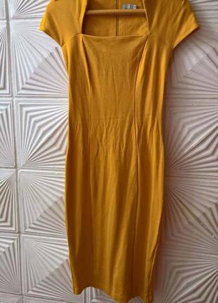 Горчичное платье миди asos