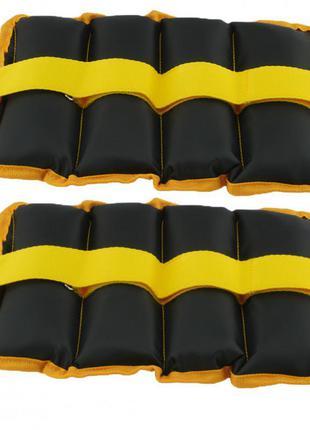 Утяжелители-манжеты для рук и ног zelart ur (2 x 1,0кг) (верх-полиэстер, наполнитель-песок, желтый)