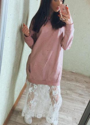 Платье -худи на флисе