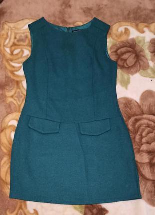Платье мини теплое зелёного цвета