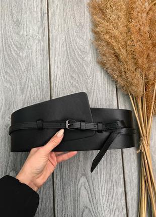 Новый шикарный стильный пояс портупея корсет ремень широкий на талию чёрный эффектный s 36 8 m 38 10