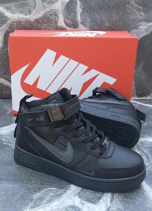 Подростковые зимние кроссовки nike air force winter кожаные, черные, хайтопы